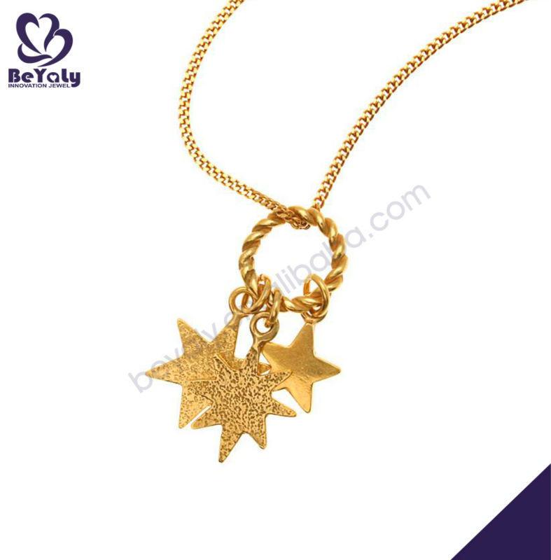 Three stars drop gold plating shiny imitation gold pendants