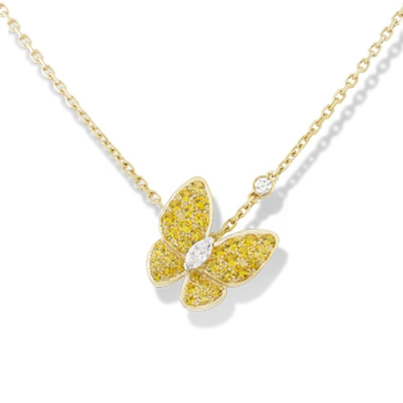 Charming Butterfly Hollow Design Silver Gold Necklace Chain