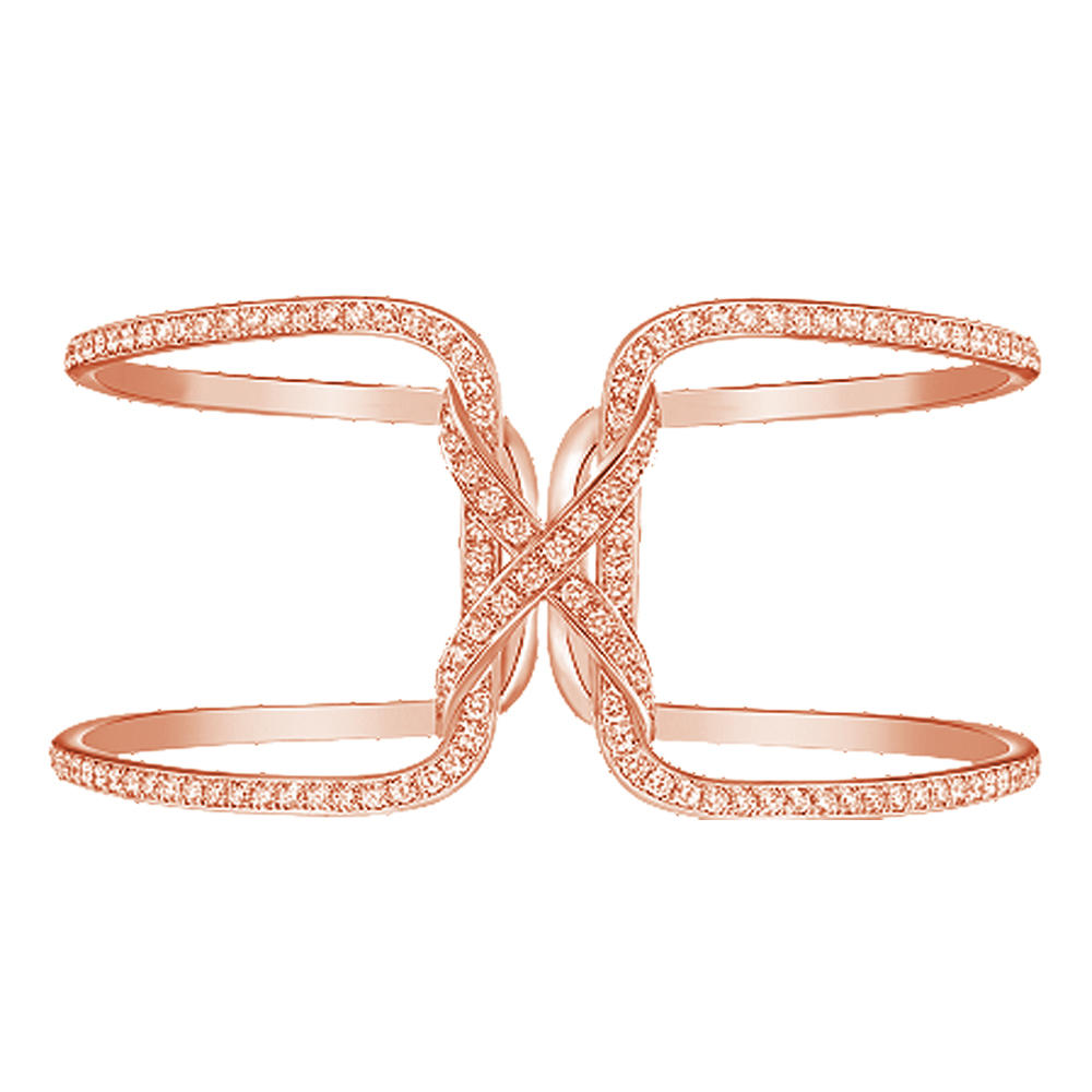 Rose Gold Plated Beauty Silver Cz High Quality Alphabet Jewelry