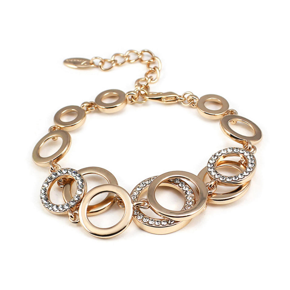 Fashion CZ Multi Circle Chain Design New Gold Bracelet Models