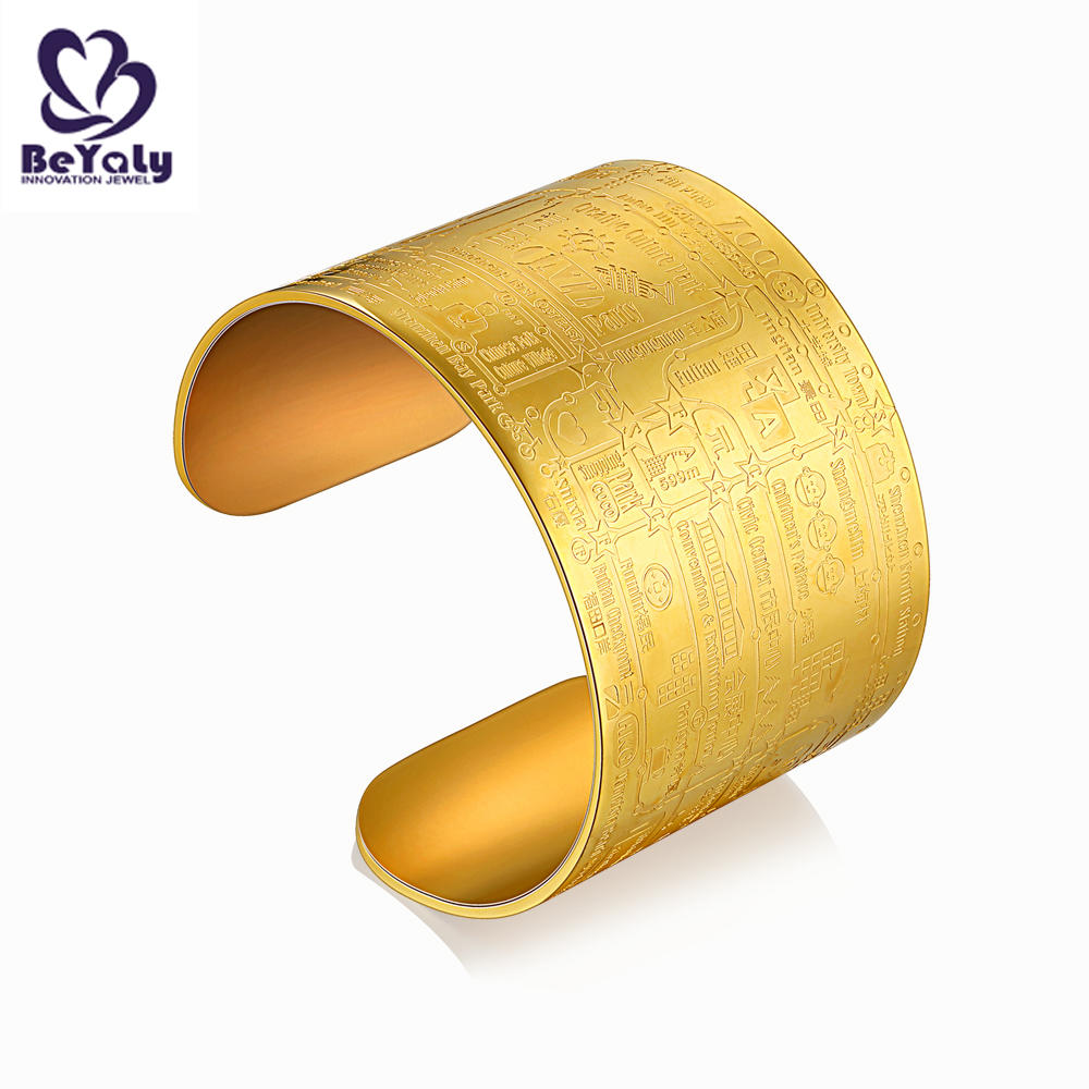 Gold plated engraved titanium stainless steel expandable bracelet