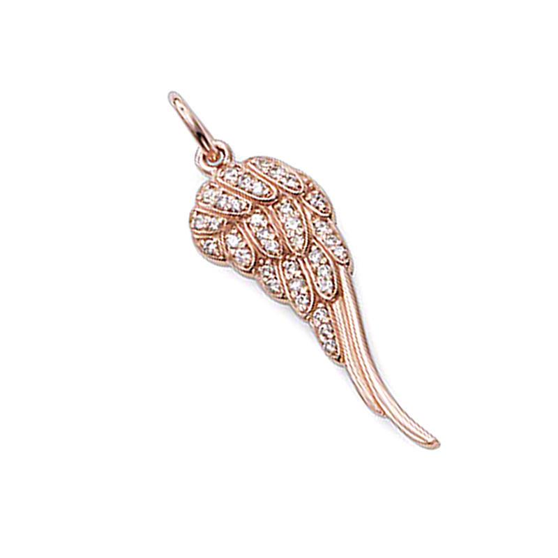 Rose Gold Wing Design Crystal Letter J Pendant Necklace
