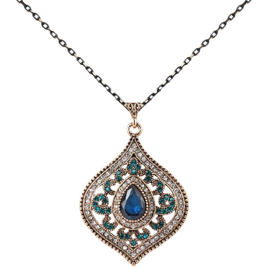Gem Crystal Pendant Sweater Chain Indian Gold Plated Necklace Set