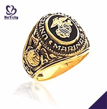 Manly etched Marines gold hot selling enamel silver ring