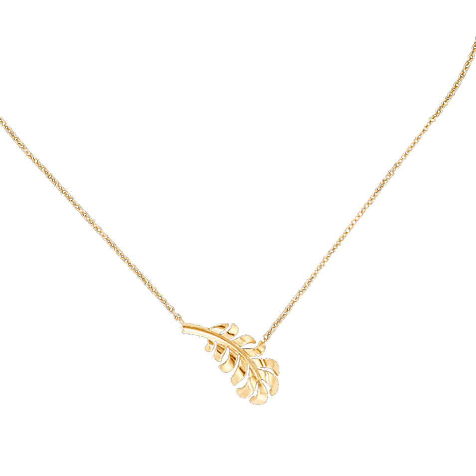 Eco-friendly fern design silver jewelry gold vermeil pendant