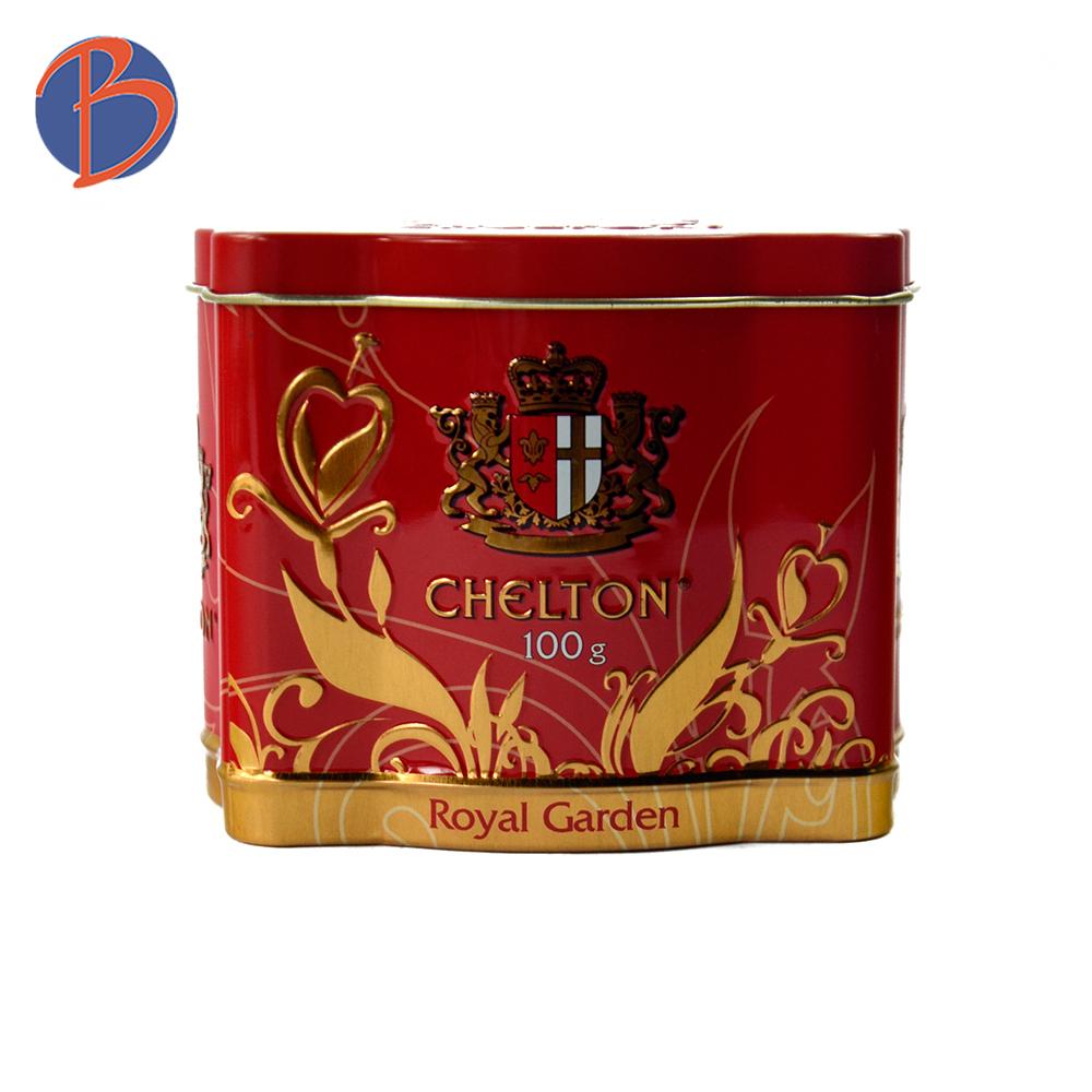 Glossy Custom Embossed Logo Metal Tea Coffee Packaging Tin Box