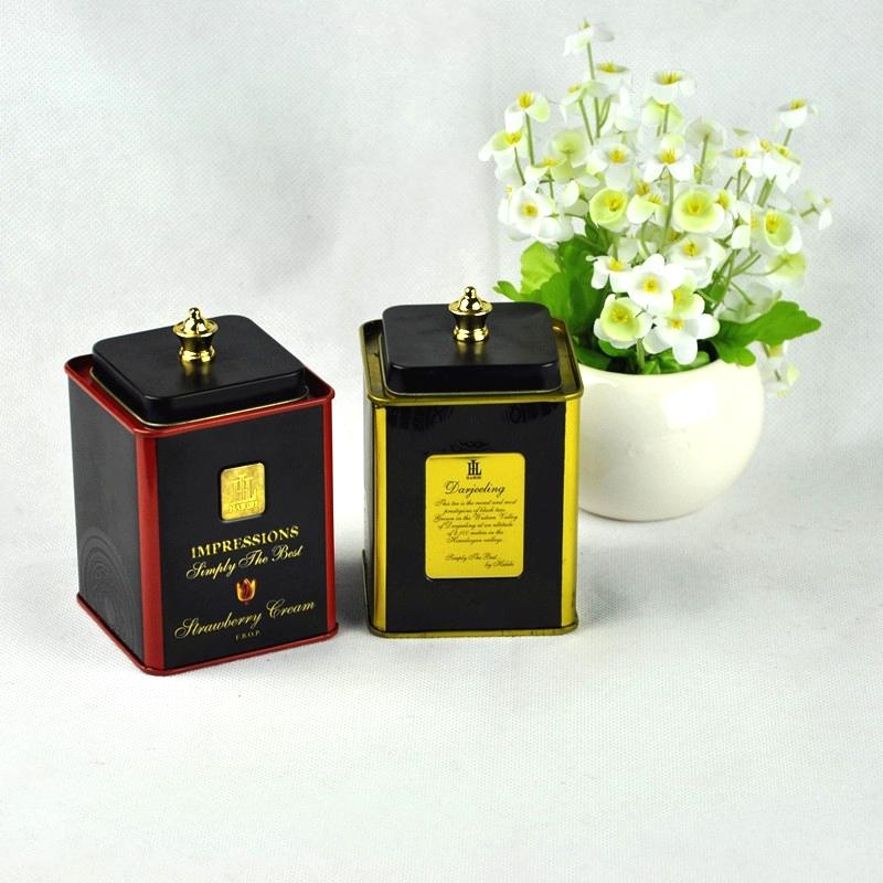 Luxury custom printed square new coffee tea packaging tin gift box