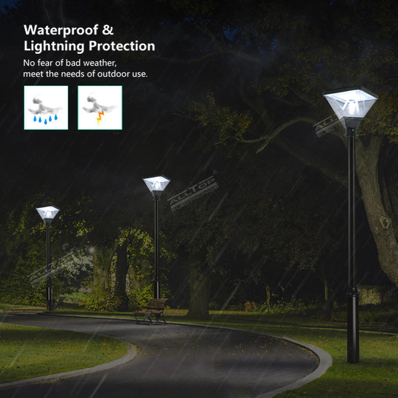 ALLTOP High Performance Outdoor Ip65 Pole Area Lighting Stand Alone Pack Garden 20w Solar Powered Led Post Top Light
