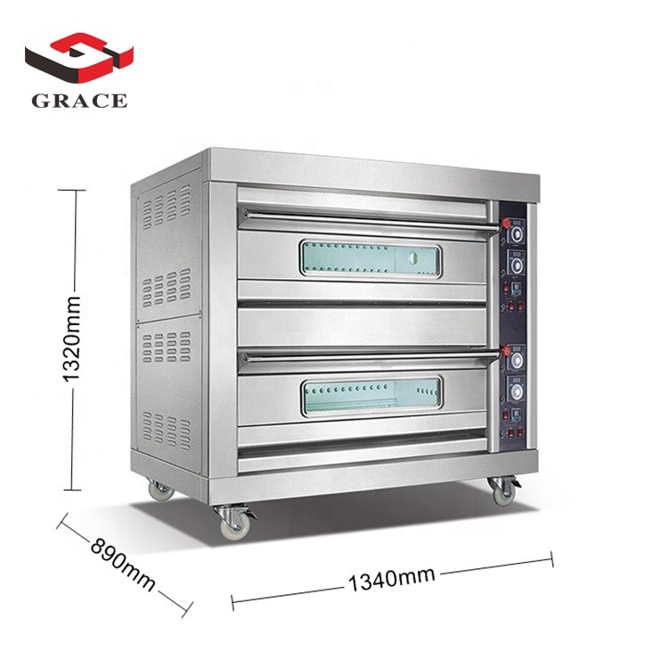 Hot Sale Commercial Kitchen 2 Deck 4 Tray Pizza Baking Equipment Stainless Steel Stone Gas Oven Grace