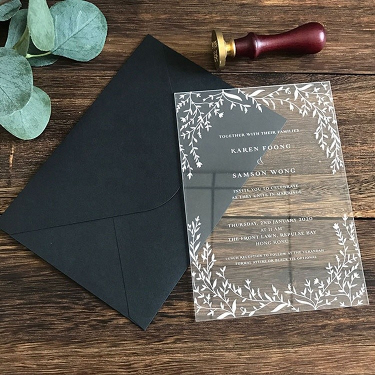 Vitalucks Elegant Rectangle Clear Acrylic Invitation Wedding With Envelope