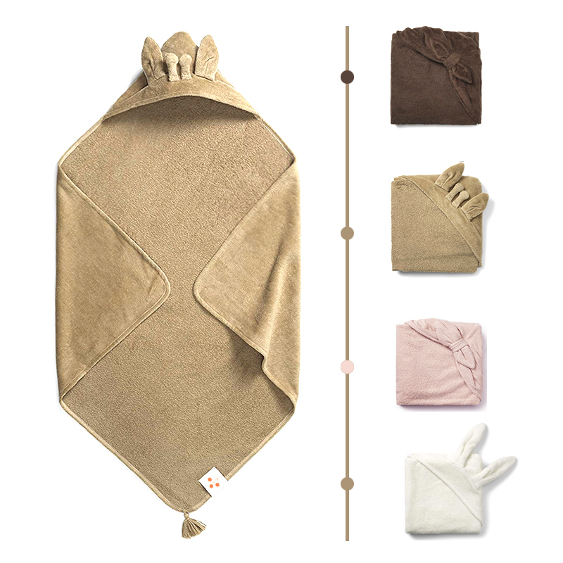 Hot sale custom100% organic cotton baby hooded towel blanket
