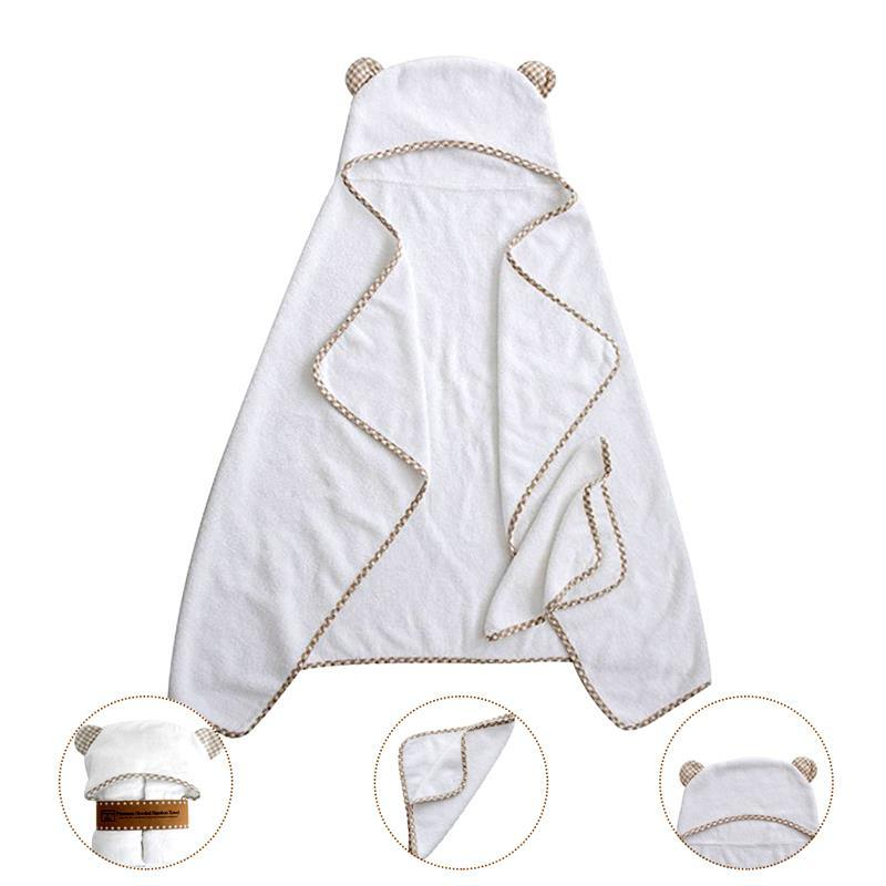 Organic 100% bamboo bath hooded baby towel with bear ears