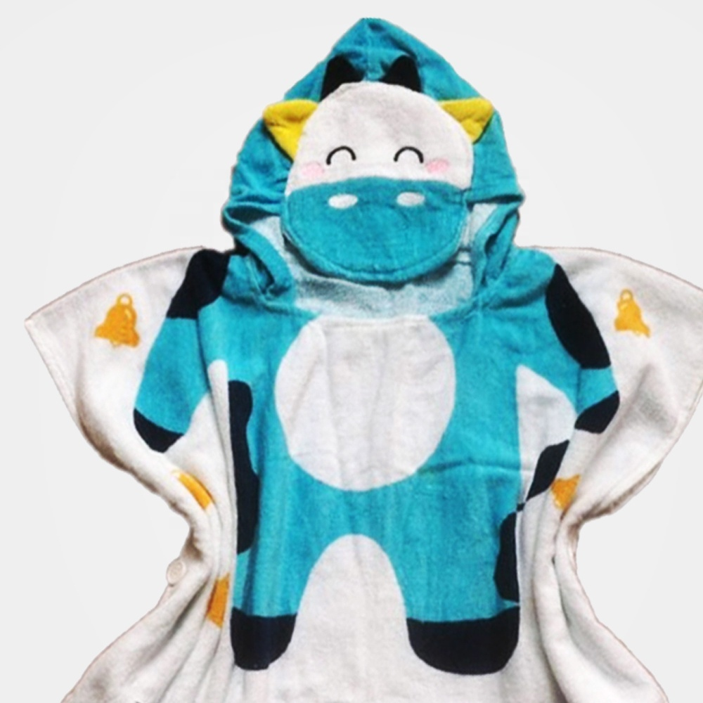 Cotton printed cow head comfytots shark hooded baby towel