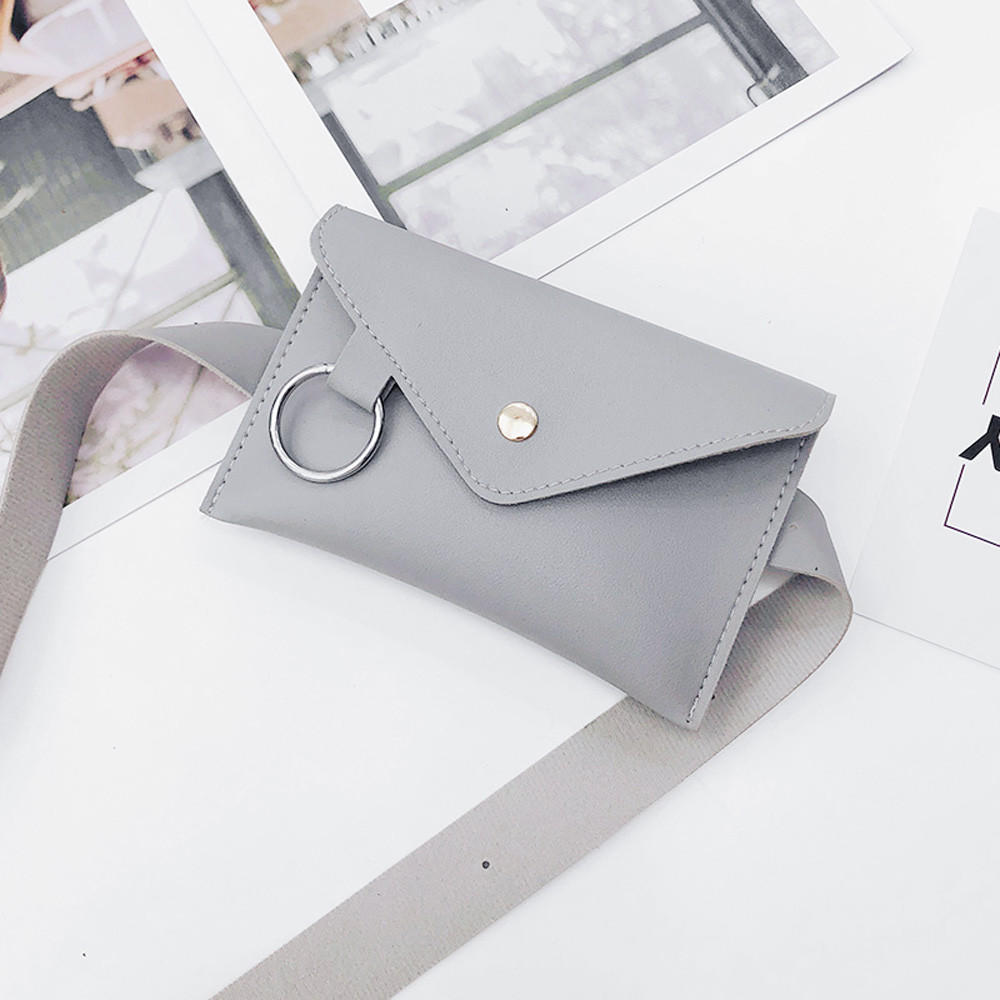 Leisure Waist Bag Outdoor Fashion Women Pure Color Ring Leather Messenger Shoulder Bag Chest Bag bolso bimba y lola A50