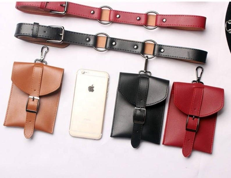 New arrival PU leather ladies fanny waist belt bag fashion vintage unique small shopping outdoor Hang buckle women waist pack