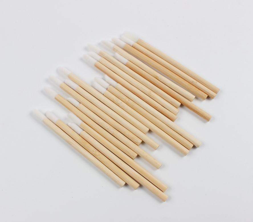 Disposable makeup lin-free applicator lip wand Eco-friendly bamboo lip gloss applicator bamboo dish brush