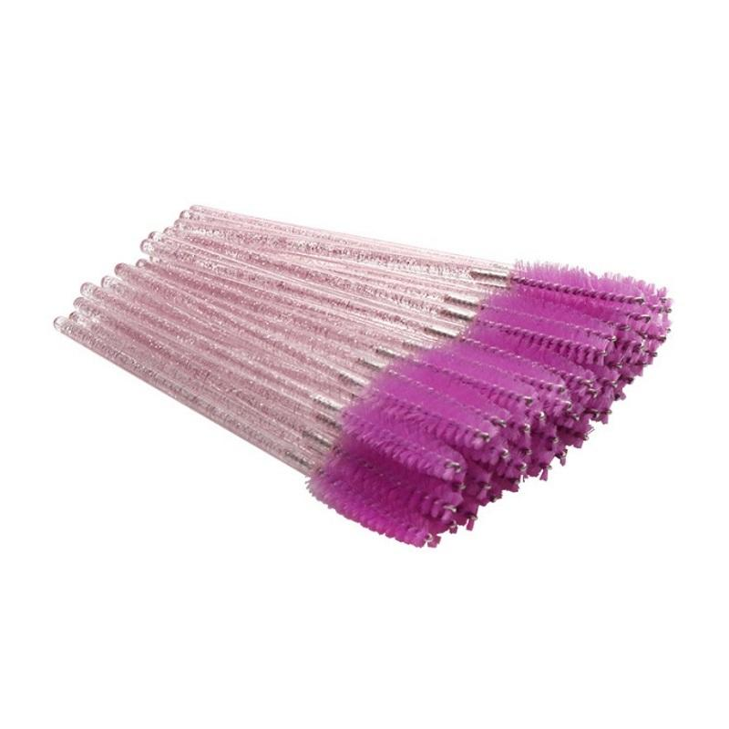 Low MOQ glitter plastic handle mascara cleaning disposable eyelash brush