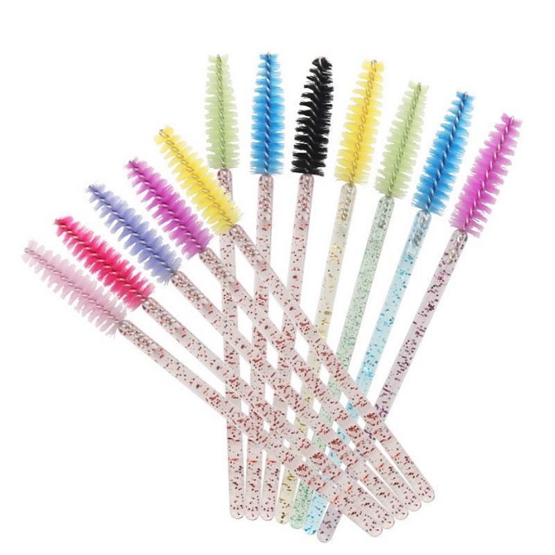 low MOQ fast delivery glitter eyelash brush disposable eyelash extension applicator mascara brushes mascara wand