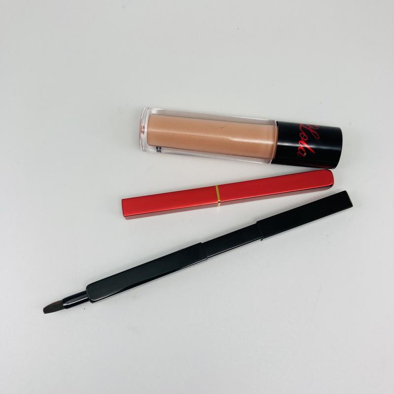 Private label eyelash brush custom logo metal retractable lip brush