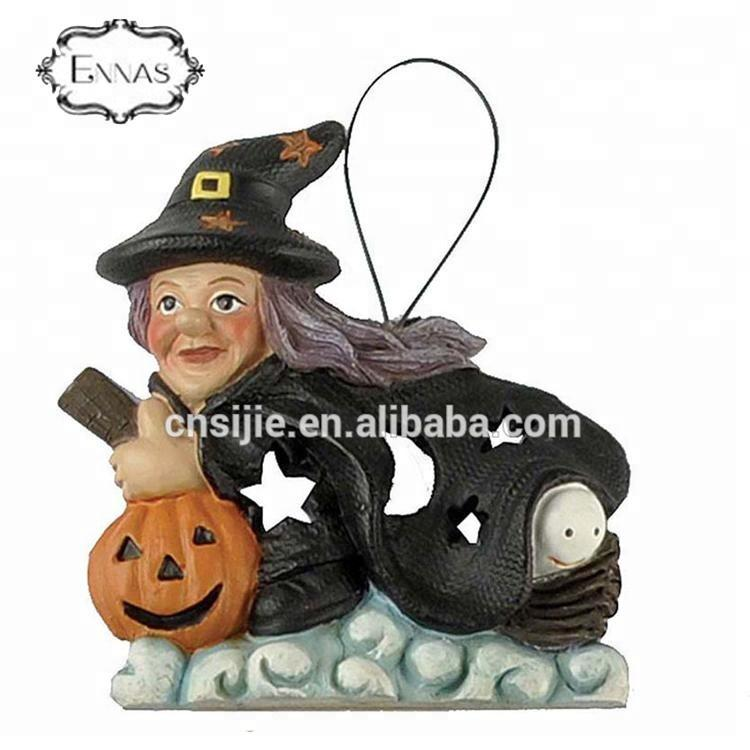 New design resin figure witch pumpkin halloween hanging decoration for halloween gifts