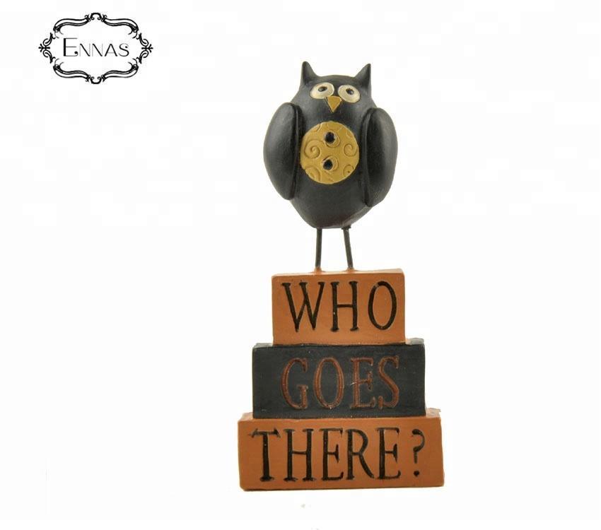 Custom Made Halloween Gardens Decoration Polyresin Resin Owl Shape Statue
