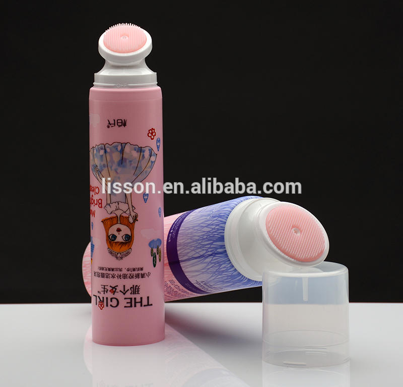 100ml face wash packaging tube with soft silicone brush head