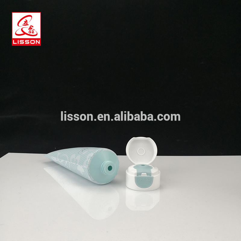 Facial Cleanser Cosmetic Plastic Tube With Press Open Flip Top Cap