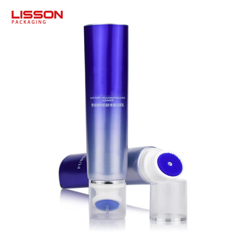 Indonesia hot sale cosmetic silicon brush plastic tube for facial cleanser