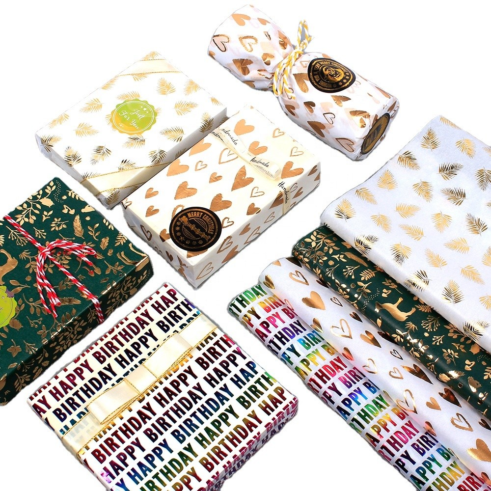 Snow pear paper bronzing wrapping paper love leaves colorful festival business gifts copy sheet paper wholesale manufacturers