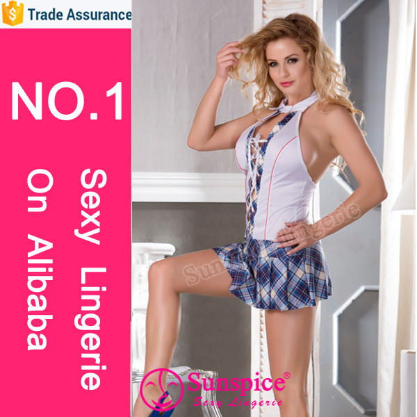 Sunspice sexy lingerie manufacturer new style top quality guarantee sexy schoolgirl costume