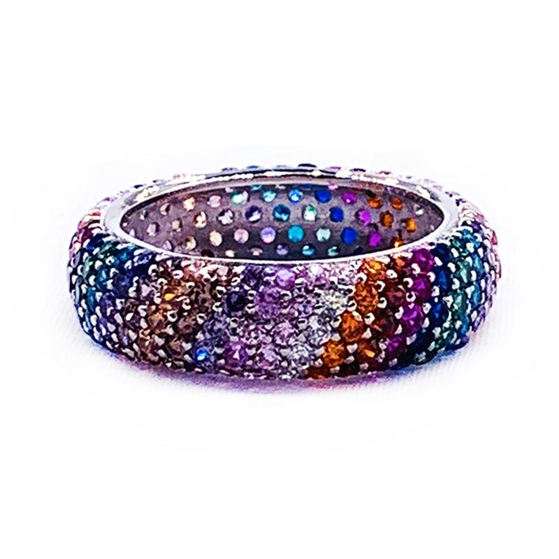 Ingenious Female Lovely Full Filled 14 Colors Stone Silver Wedding Ring
