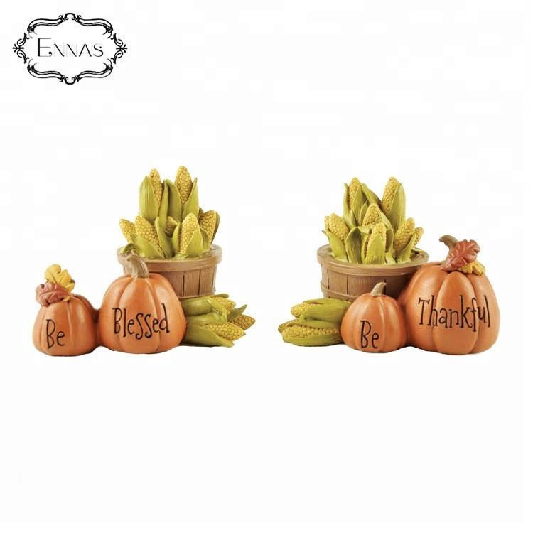 Harvest Autumn Resin Thanksgiving Blessings Gifts Resin Pumpkin Corn Statue Ornament