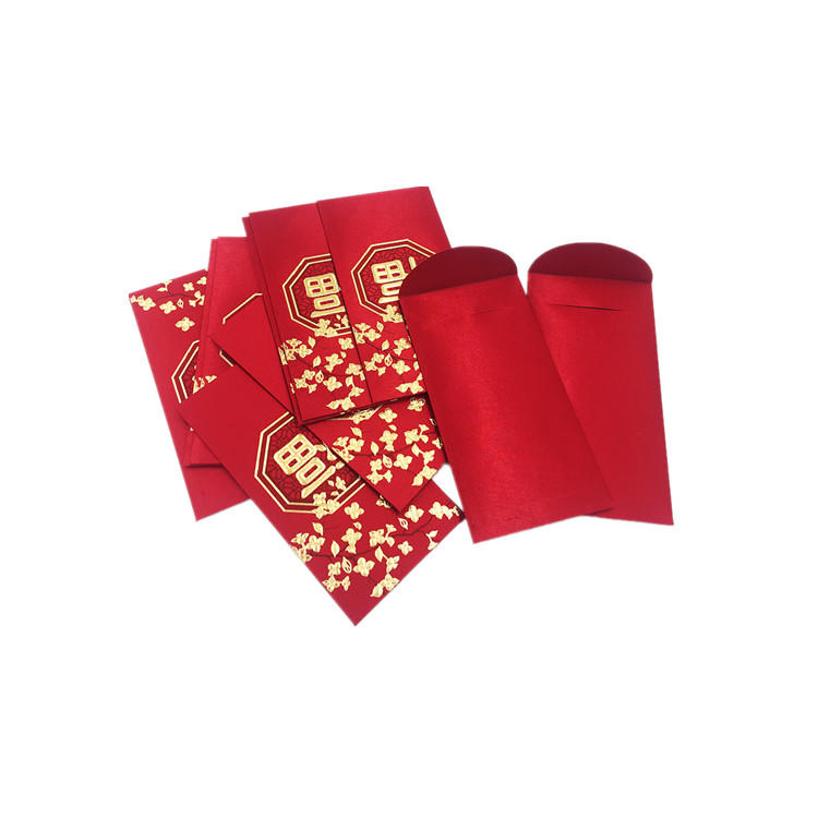 Chinese New Year Custom Design Gold Stamping Lucky Envelope Red Pocket For Promotion