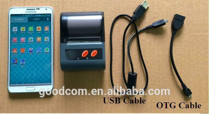 Bluetooth Printer can be Connected to Android Devices via Bluetooth or USB Cable