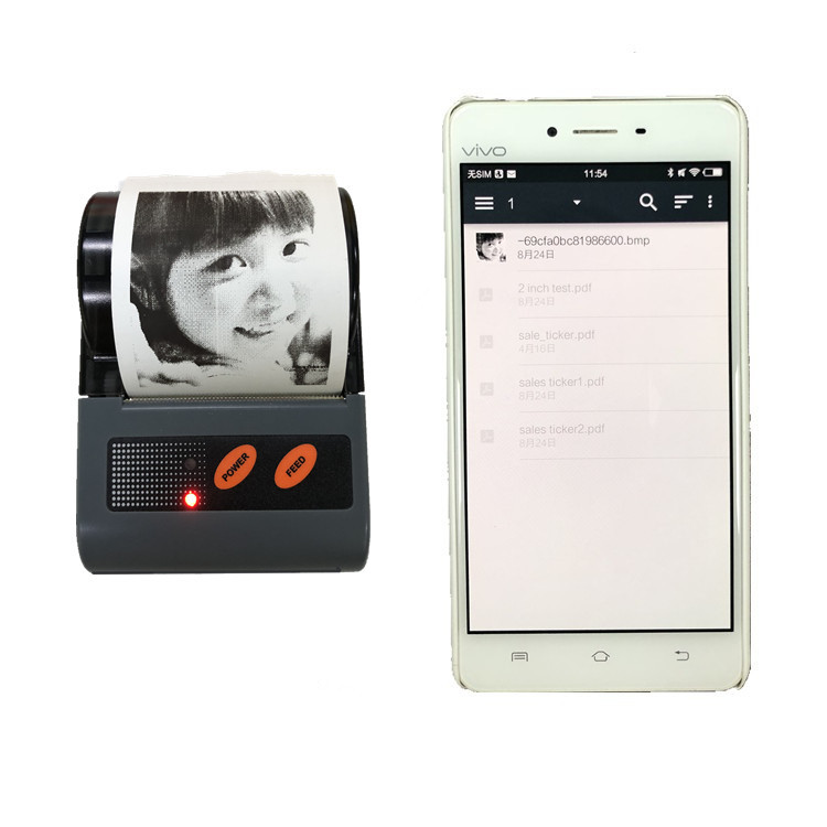 QR Code Supported Min Bluetooth Thermal Printer for Android iOS Smartphone