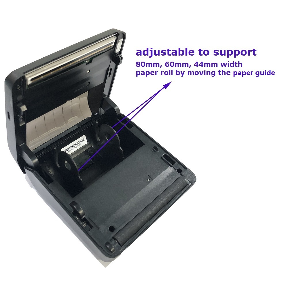 80mm Label Sticker Supported Mini Portable Printer Bluetooth for iOS Android Windows