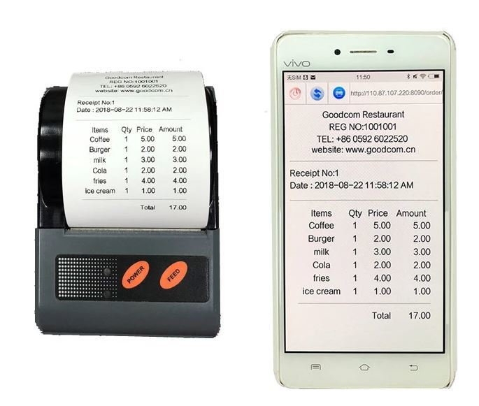 QR Code Printing Supported Mini Portable Android Bluetooth Printer for Laptop and Smartphone
