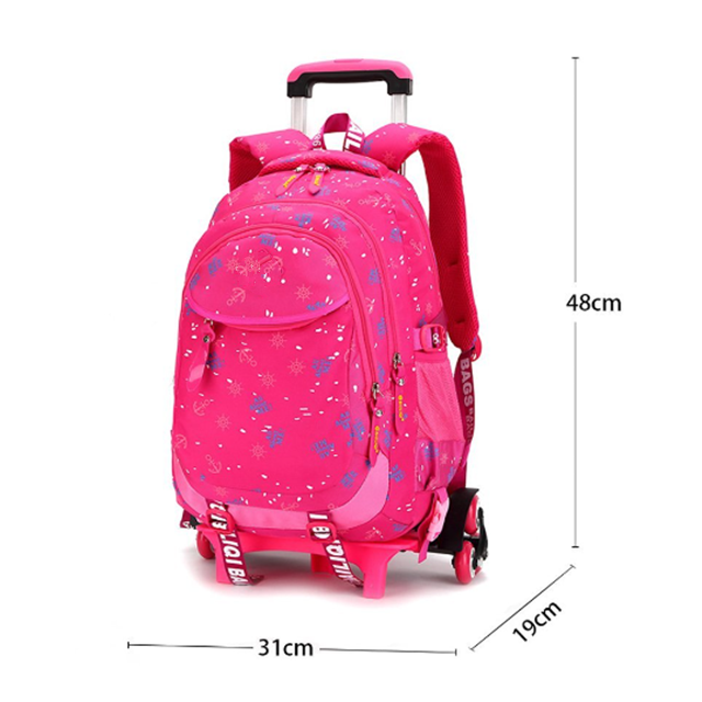 product-Osgoodway Cute Desgin Wholesale Nylon Trolley Girls Backpacks with Wheels Removable Rolling--1