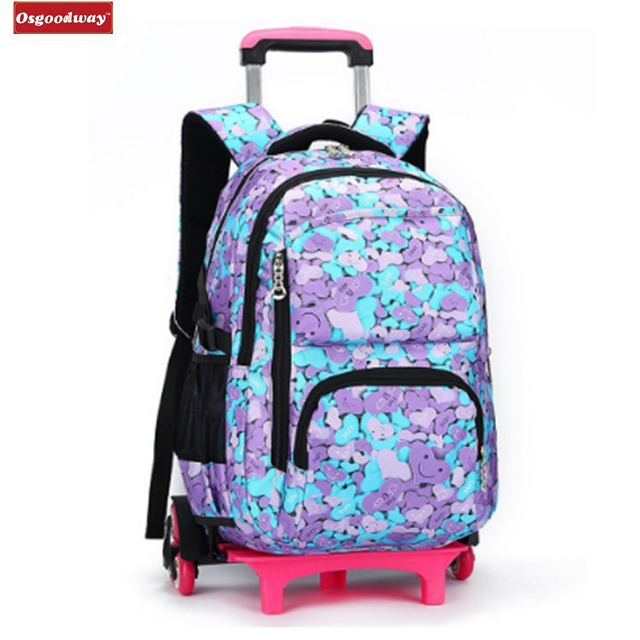 Osgoodway New WaterProof Travelling Bags Students Trolley Backpack Rolling Backpack Wheeled School Bag Removable