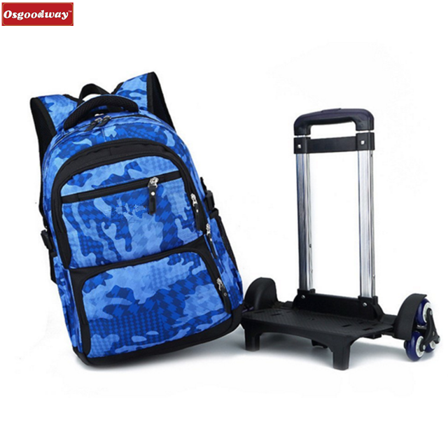 product-Osgoodway Campus Rolling School Backpack Nylon Trolley Carry on Luggage With Six Wheels-Osgo-1