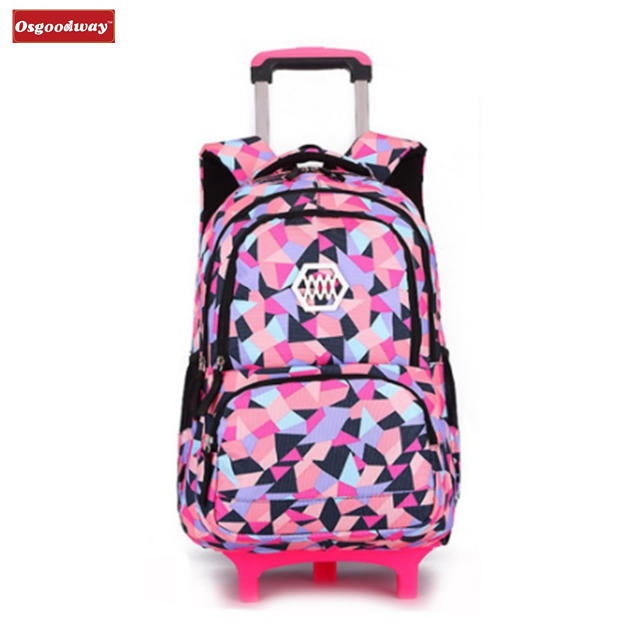 Osgoodway Lovely Trolley School Backpack Bags With Wheels For Kids Girls Primary School Bag