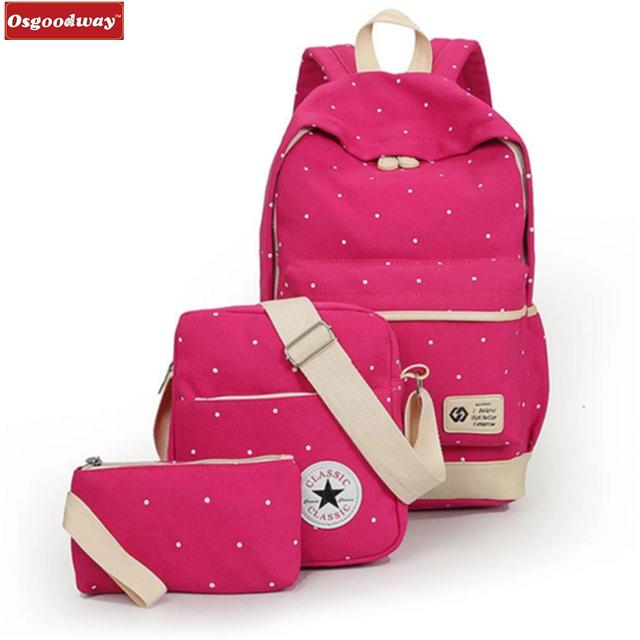 Osgoodway Hot Sale Composite Bags School Backpack Shoulder Bag Fashion High Quality Canvas School Bag New Satchel Rucksack