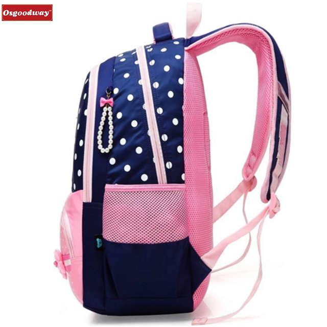 product-Osgoodway Fashion Beautiful Girls Backpack Pink Bow Decorations Waterproof Nylon School Bag -1
