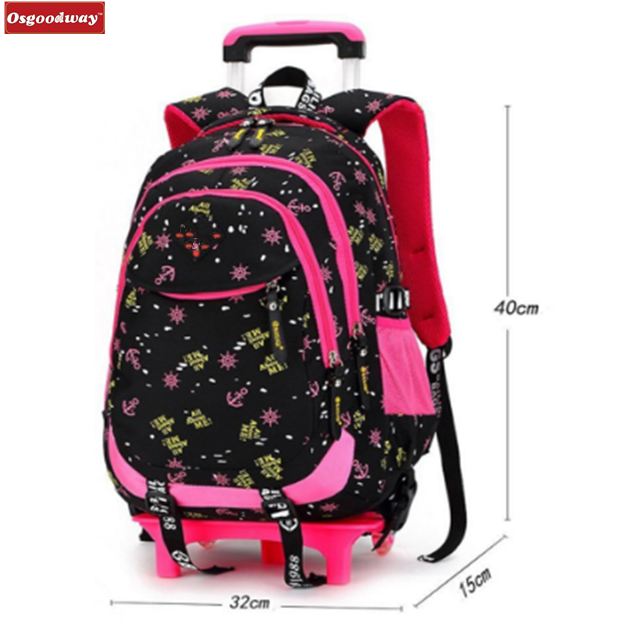 product-Osgoodway-Osgoodway Waterproof Nylon Removable Trolley School Bags Backpack With Wheels Trol