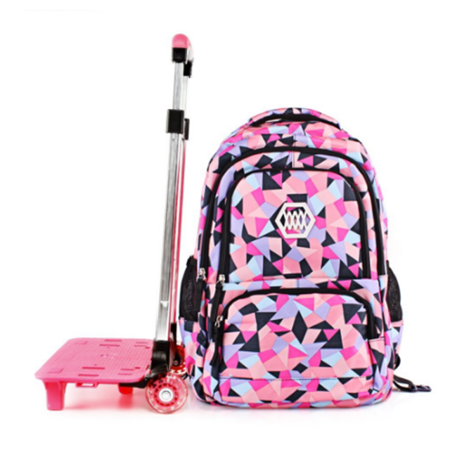 product-Osgoodway Lovely Trolley School Backpack Bags With Wheels For Kids Girls Primary School Bag--1