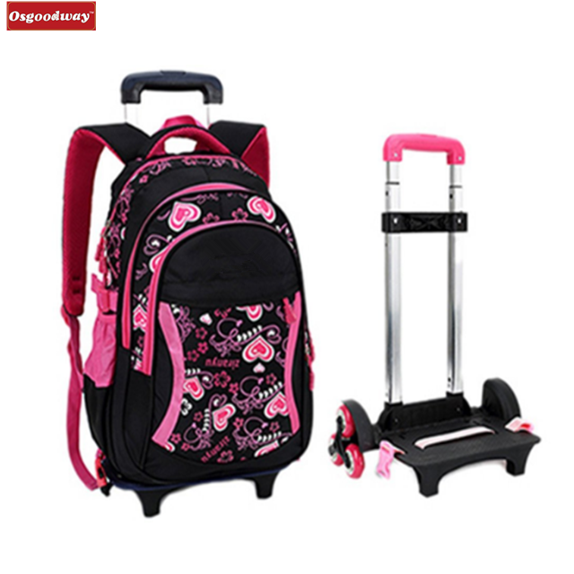 Osgoodway Rolling Backpack Kids Backpack With Wheels Children School Bags Trolley Schoolbag Kids Bags Girls Backpack
