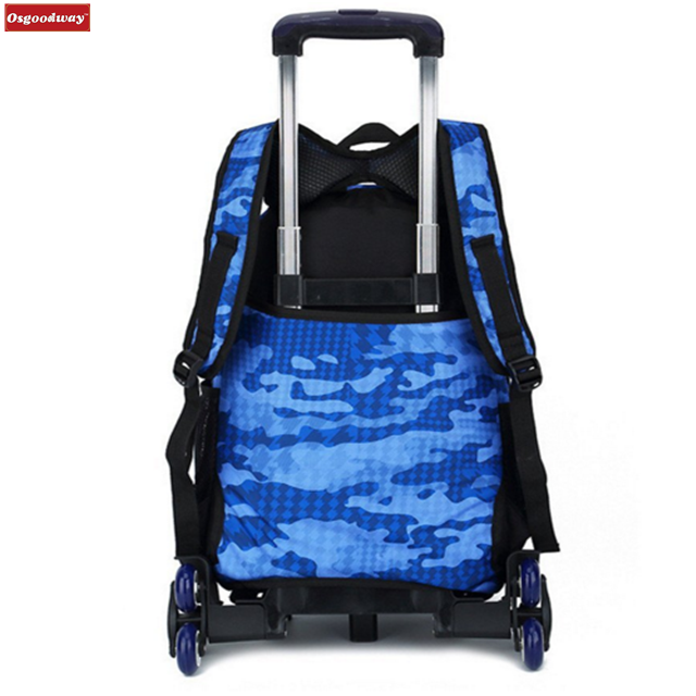 product-Osgoodway-Osgoodway Campus Rolling School Backpack Nylon Trolley Carry on Luggage With Six W