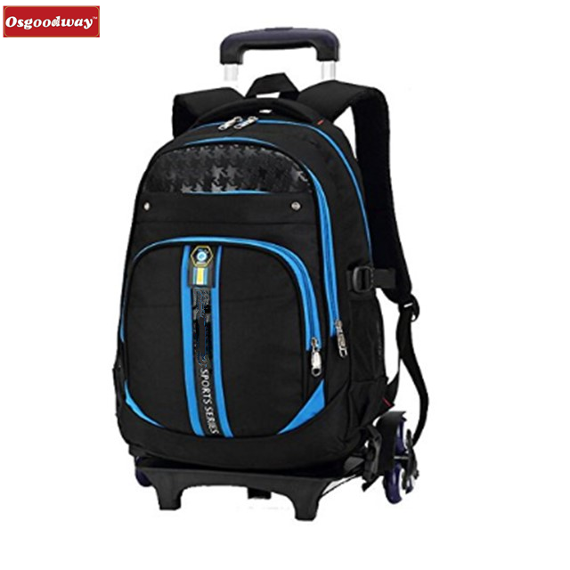 Osgoodway Children School Bags Students Backpack Trolley Bags Rolling Backpacks for Kids