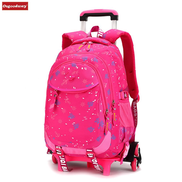 product-Osgoodway-Osgoodway Cute Desgin Wholesale Nylon Trolley Girls Backpacks with Wheels Removabl