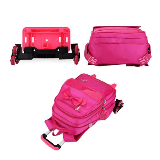product-Osgoodway-Osgoodway Girls Trolley Backpack Wheeled School Bag Kids Bookbag Set-img